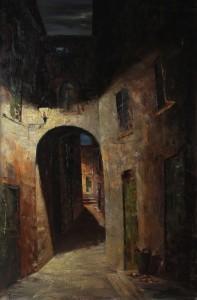 Scorcio notturno Rovigno – olio su tela 80x120