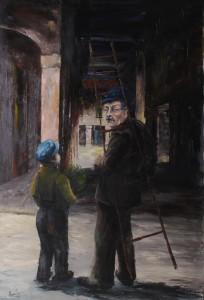 """il """"lampionaio"""" -‐ olio su tela 80x120 -‐ 1977"""