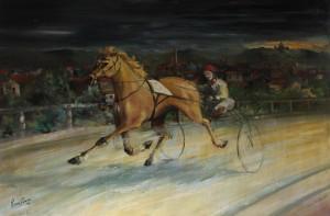 trotto al vecchio Ippodromo di Bologna -‐ olio su tela 80x120 -‐ 1980
