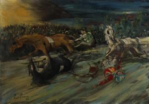 l'incidente (Ippodromo di Bologna) -‐ olio su tela 50x70 -‐ 1980