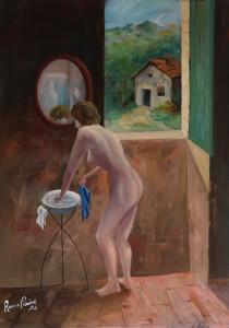 nudo in campagna (impressionismo moderno) -‐ olio su tela 50x70 -‐ 1992