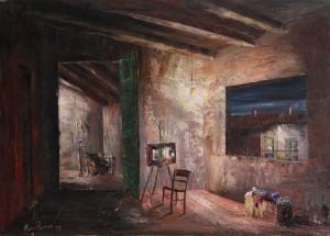 la mia soffitta (copia -‐ originale rubato) -‐ olio su tela 50x70x-‐ 1977