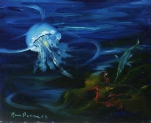 fondo marino (studio) -‐ olio su tela 40x60 -‐ 1970