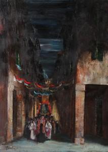 la processione (vecchia Bologna -‐ impressionismo moderno) -‐ olio su tela 50x70 -‐ 1980 II premio internazionale I PORTICI -‐ galleria d'Arte internazionale Bologna