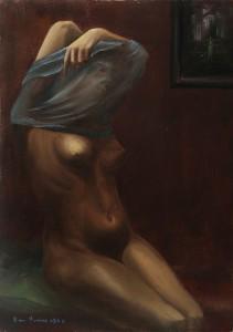 la donna nuda (studio) -‐ olio su tela 50x70 -‐ 1968