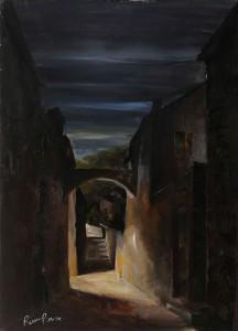 scorcio notturno -‐ olio su tela 80x120 -‐ 1970
