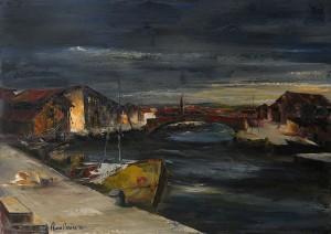 porto canale Cattolica -‐ olio su tela 50x70 -‐ 1974