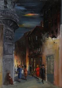 Padre Marella (via Pescherie Vecchie angolo via Orefici -‐ Vecchia Bologna) – olio su tela 80x120 -‐