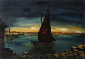 Il molo – olio su tela 50x70 -‐ 1968