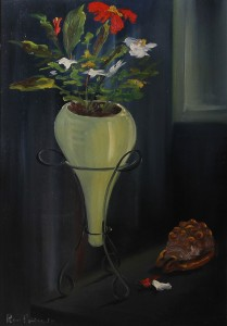 vaso con fiori (Studio) -‐ olio su tela 50x70 -‐ 1970