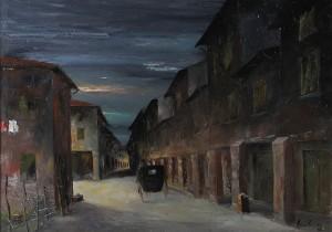 Via Borgo Polese (vecchia Bologna) – olio su tela 50x70 -‐ 1986